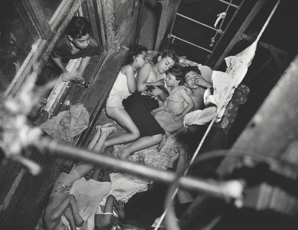 Heatspell, 1938.  Children sleeping on the fire-escape.